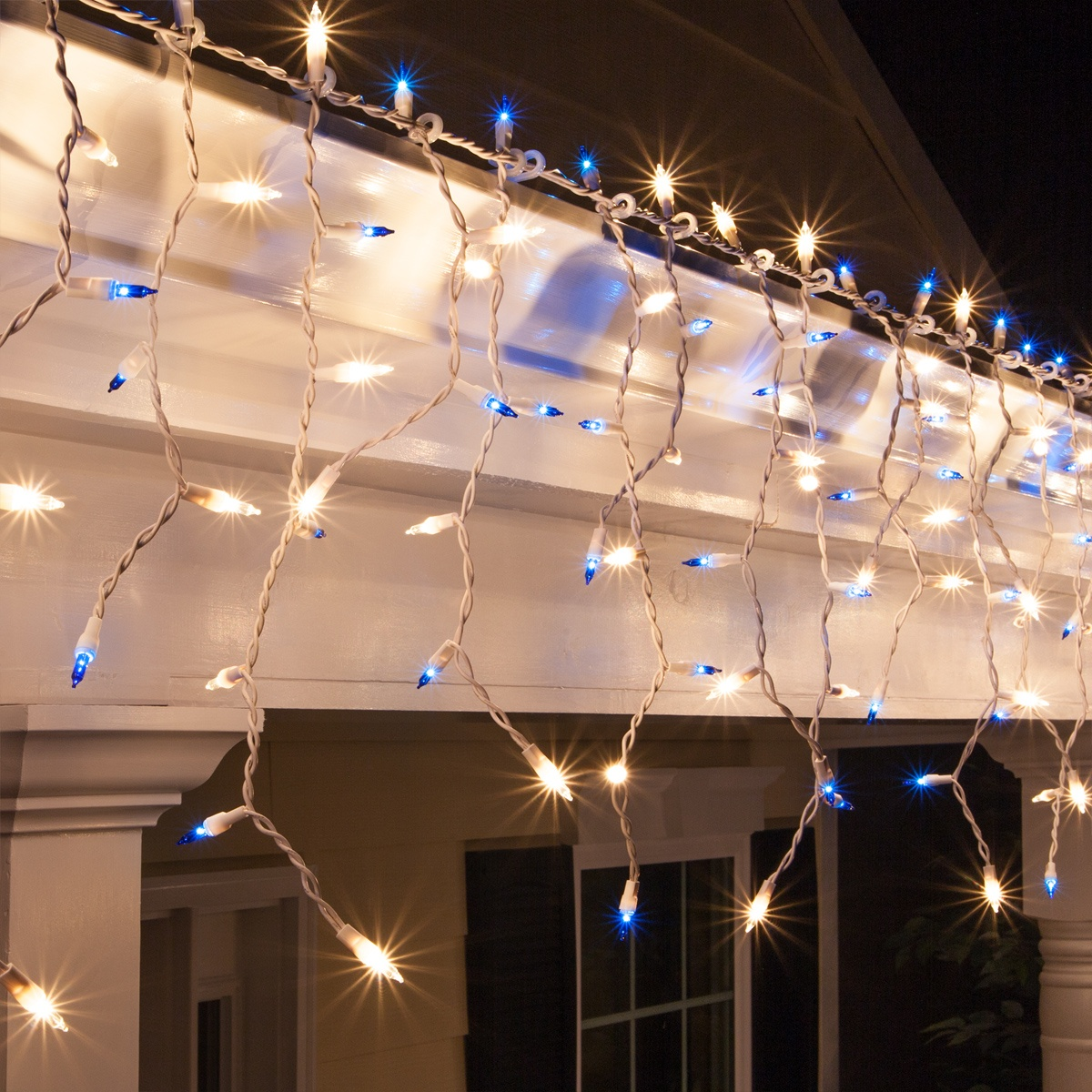 how to decorate with icicle lights.htm blue  clear mini icicle lights on white wire wintergreen  clear mini icicle lights on white wire