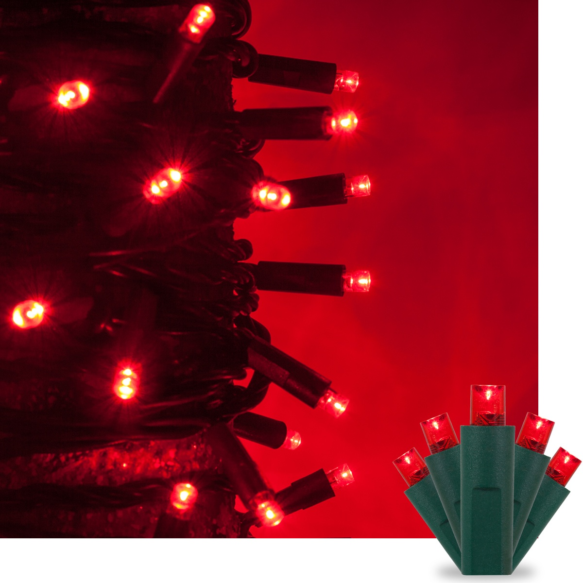 kringle traditions 5mm red led christmas lights on green wire wintergreen corporation. Black Bedroom Furniture Sets. Home Design Ideas
