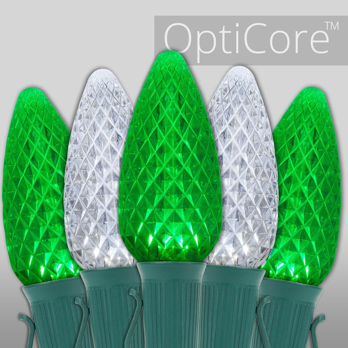 Christmas Lights C9 Green Cool White Opticore